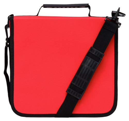 CD Case for Car, 288 Capacity, Hard Case and Lightweight, Red