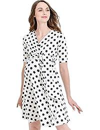 b03711fc9d56b Flower Print V-Neck 3/4 Sleeve Baby Shower Front Tie Wrap Maternity Dress