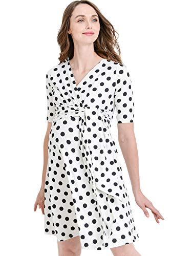 Hello MIZ Flower Print V-Neck 3/4 Sleeve Baby Shower Front Tie Wrap Maternity Dress (Ivory/Black Dot, S)