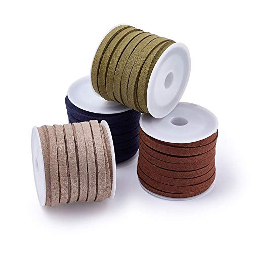 (Pandahall 4 Colors Faux Leather Suede Cords 5mm Wide Jewelry Craft Making Flat Micro Fiber Lace Suede Beading Thread 5 Yards/Roll (Mixed#2))