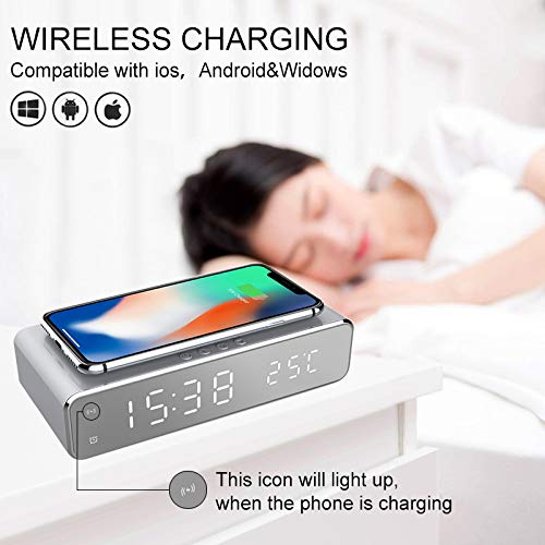 JCWL Multifunctionnal 2 in 1 Wireless Charging Alarm Clock Mirror Alarm Clock Charger with Thermometer Temperature 5W Charging Pad for apple Android Devices
