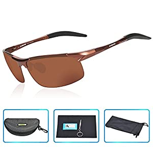 DAWAY SG06BR Mens Polarized Sports Sunglasses for Golf Fishing Cycling Driving - UV 400 TAC Lens with Al-Mg Unbreakable Metal Frames
