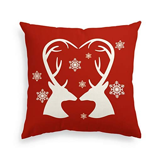 Artoid Valentine's Day 18 x 18 Linen Decorative Throw Pillow Cover Case Reindeer Love Heart | Invisible Zipper Love Heart Deer Cushion Protector for Sofa Couch Living Room ()