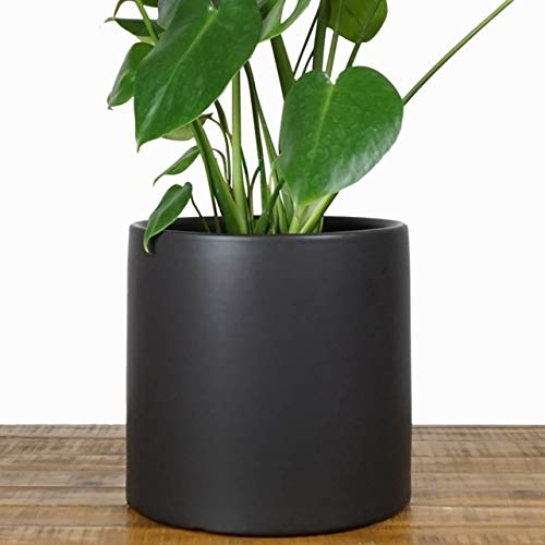 (Indoor Plant Pot | Ceramic Indoor Planter - Modern Terracotta Flower Pot | Perfect for Plant Stands and House Plants (10 inch, Black))