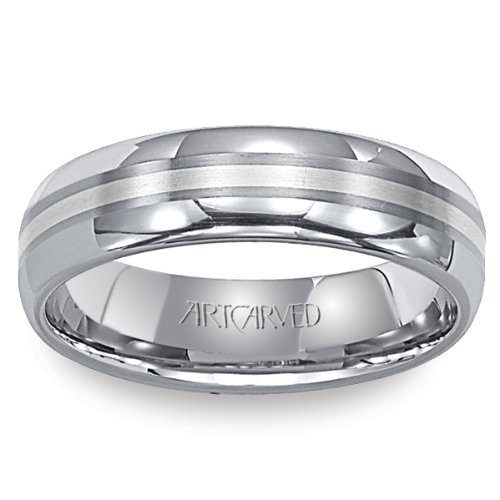 - 11-WV2114PC Gabe Mens Tungsten and Platinum Wedding Band from ArtCarved