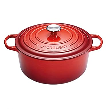 Le Creuset Signature Enameled Cast-Iron 7-1/4-Quart Round French (Dutch) Oven, Cerise (Cherry Red) w/ Stainless Knob