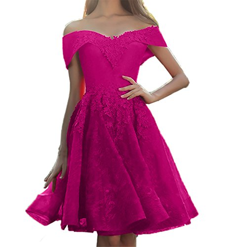 Abendkleider Rock Linie A Kurzarm Cocktailkleider Schulterfrei Partykleider Damen Mini Promkleider Charmant Spitze Pink wq6IUI