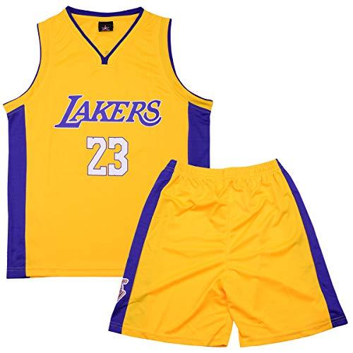 XJHSO Men's Basketball Jersey Retro Athletics Jersey Set 2-Piece Basketball Tank Top and Shorts Set (X-Large, James 23 Yellow)
