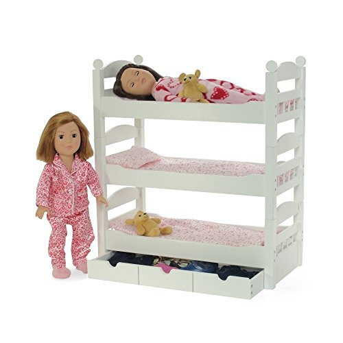 18 Inch Doll White Triple Detachable Trundle Bunk Bed Furniture