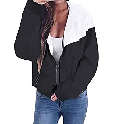 LBPSUUEW Women Jacket Long Sleeve Patchwork Thin Hooded Outerwear Zipper Pockets Sport Coat Casual Overcoat