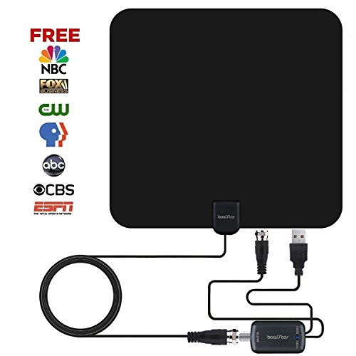TV Antenna, INDOOR TV ANTENNA,50+ Mile Range Indoor Digital Antenna 16.45FT, Apply For Strong Reception, High Performance Coaxial Cable Aerial Amplifier Assembly.(13X11.8X0.025 inch, Black)