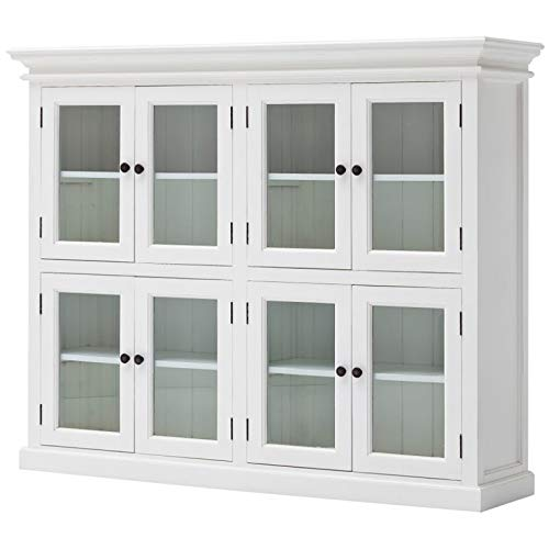 NovaSolo Halifax Pure White Mahogany Wood Storage Kitchen Pantry Unit With Glass Doors And 8 Shelves