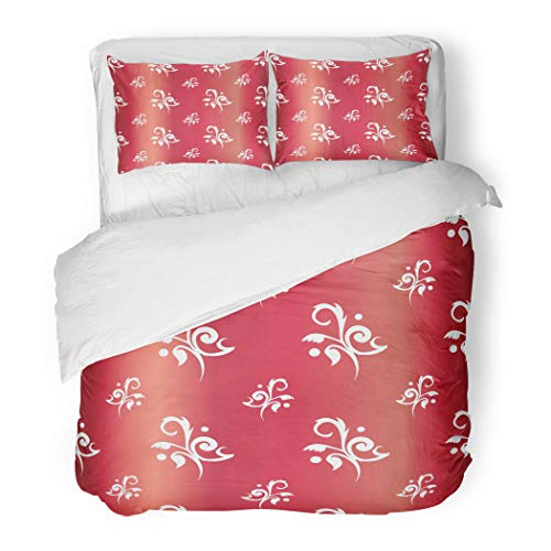 (Emvency Bedding Duvet Cover Set Twin (1 Duvet Cover + 1 Pillowcase) Red Antique Floral Toile Rubies Baby Chic Feminine Fleur Flowers Girl Jewel Hotel Quality Wrinkle and Stain Resistant)