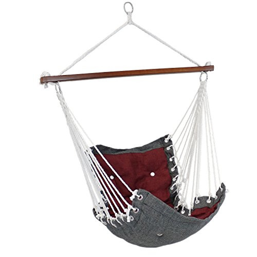 Cheap Sunnydaze Tufted Victorian Hammock Chair Swing, Indoor or Outdoor Hanging Seat, Sturdy 300 Pound Weight Capacity, Red