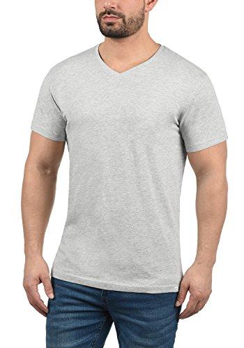 Básica Melange Algodón V Camiseta shirt T Hombre Con Light De Grey Para Corta Manga 100 neck solid Bedo 8242 qEwBRET