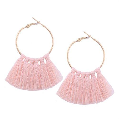 Elogoog Clearance Large Hoop Earrings Gold Fashion Jewelry Women Girl Long Tassel Earrings (Pink)