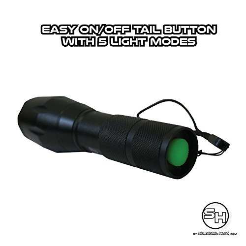 Tactical LED Flashlight - High Power Torch Light is 1000 Lumens utilizing Cree technology - Durable Aircraft Aluminum Alloy for Self Defense, Police, and Military use - Rechargeable (Black) by Survival Hax (Image #6)