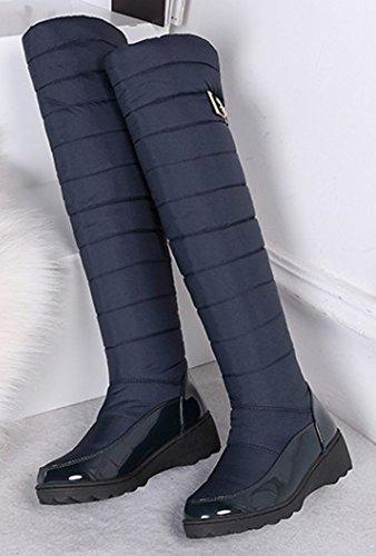 Aisun Femme Bleu Haute Rond Bout Tige Cuissardes Bottes Mode rr4qxwR