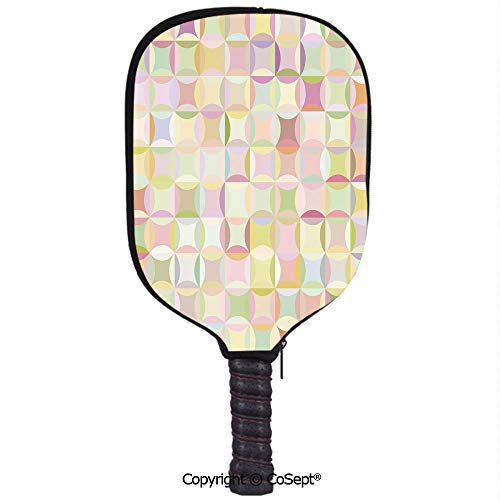 PUTIEN Durable Peak Racket Set,Retro Pattern with Polka Dots Overlapping Ring Shapes Squares Colorful Funky Print Decorative,with Smooth Face and Ultra Cushion Grip(8.26x11.61 inch) Multicolor