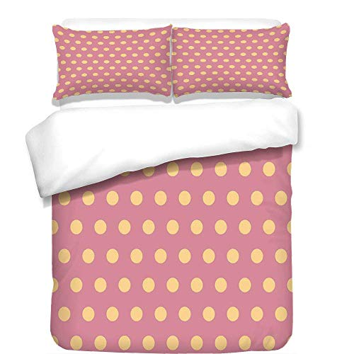 - VAMIX 3Pcs Duvet Cover Set,Polka Dots,Geometrical Modern Classic Retro Vintage Romantic Circles Rounds Image Decorative,Salmon and Pink,Best Bedding Gifts for Family/Friends,