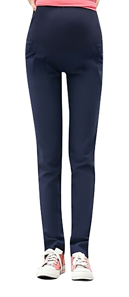 MTRNTY Women's Maternity Stylish High Elastic Waist Comfortable Capris / Pants, NavyBlue Pants Large