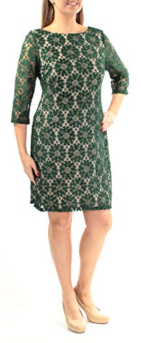 - Jessica Howard Womens Illusion Sleeve Lace Casual Dress Green 12