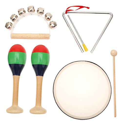 MUSICUBE Kids Wood Musical Instruments, Percussion Set with Drums for Kids Children, 7pcs, ASTM Certified Toddler Musical Toys