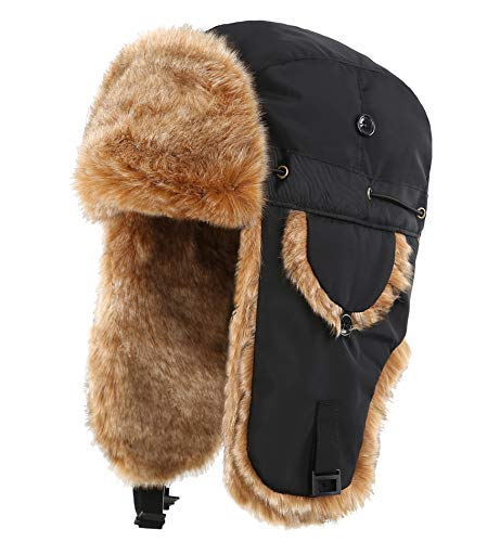ba9e58a9dd60ad Connectyle Unisex Faux Fur Lined Trooper Trapper Hat Warm Winter Hunting  Hats with Ear Flaps