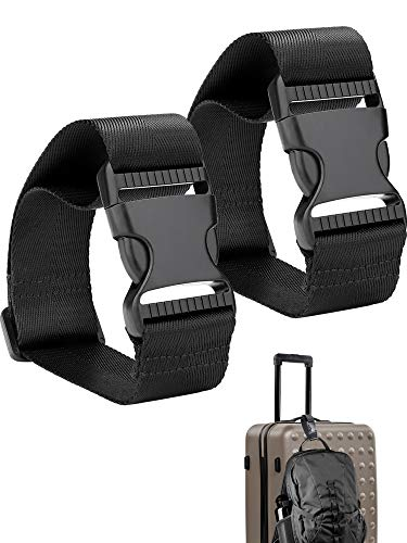 - Frienda Add a Bag Luggage Strap Adjustable Suitcase Belt Straps Accessories for Connecting Luggage (Black-2 Pieces)