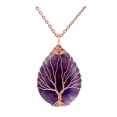 (Jovivi Vintage Tree of Life Wire Wrapped Copper Teardrop Natural Amethyst Gemstones Pendant Necklace)