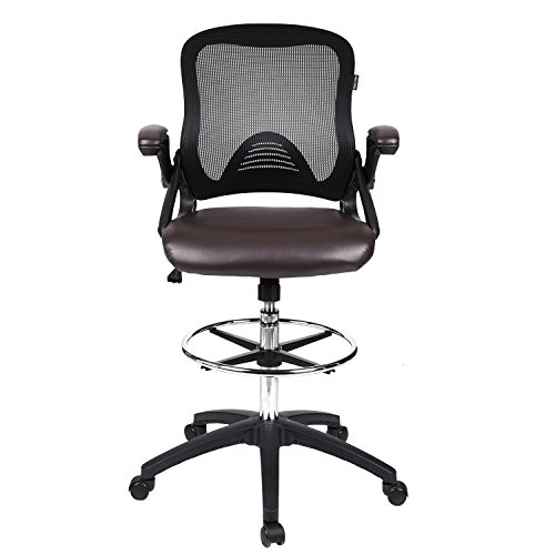 Drafting Chair Tall Office Chair for Adjustable Standing Desks with Flip-up Arm in Brown (Companion Arm Guest Chair)
