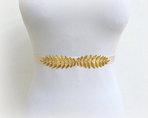 Ivory Elastic Waist Belt. Gold Leaf Belt. Bridal Dress Sash. Bridesmaids Stretch Belt.