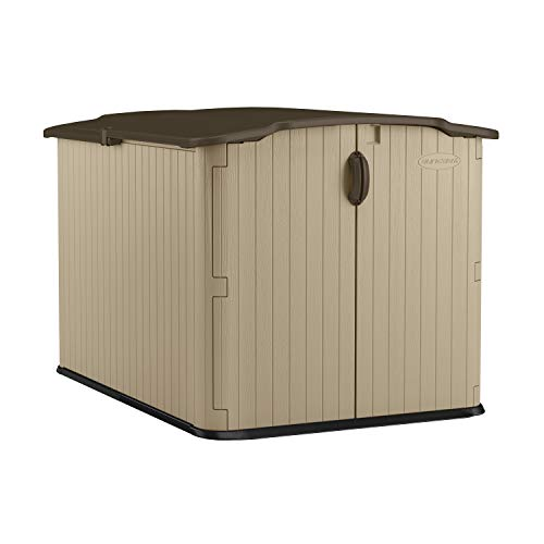 Suncast 6' x 4' Glidetop Horizontal Storage Shed - Natural Wood-like Outdoor Storage for Trash Cans and Yard Tools - All-Weather Resin Material, Slide Lid Design and Reinforced Floor - Brown reviews