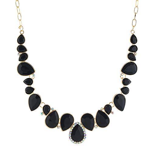 Cuekondy 2019 New Women Bib Collar Statement Necklace Boho Fashion Crystal Pendant Chain Charm Wedding Party Jewelry (Black) (Shiny Silver Heart Magnet)
