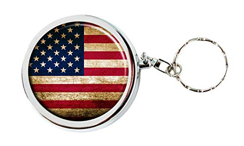 Cute Portable Box Stainless Steel Circular Keychain Decor Tray with Holder Case (Flag Pattern)