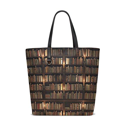ALAZA Vintage Bookshelf Book Bookworm Tote Bag Purse Handbag for Women Girls
