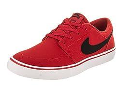 Nike Men's Sb Portmore Ii Solar Cnvs Universityredblackwhite Skate Shoe 9 Men Us