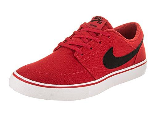 Nike Men's SB Portmore II Solar Cnvs University/Red/Black/White Skate Shoe 11.5 Men US (Red Skate Black)
