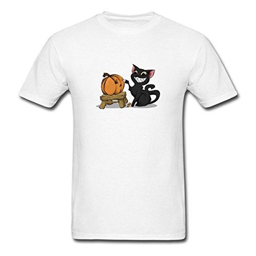 Yiekey Halloween Pumpkin Carving Cat Mens t Shirts Cute Cotton Tees Size M White