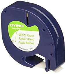 DYMO LetraTag Paper Label Tape Cassettes, 1/2in x 13ft, White, 2/Pack X 3
