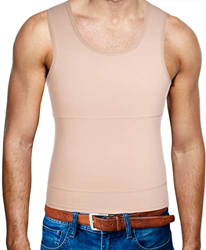Gotoly Men Compression Shirt Shapewear Slimming Body Shaper Vest Undershirt Weight Loss Tank Top (Beige, S: Fit Waist 26.7-28.7 inch) (Best Shapewear For Small Sizes)