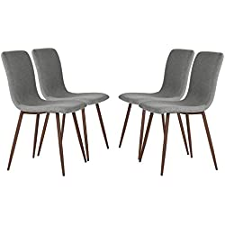 Set of 4 Dining Chairs Coavas Fabric Cushion Kitchen Chairs with Sturdy Metal Legs for Dining Room, Grey