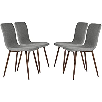 set of 4 eames dining chairs coavas fabric cushion kitchen chairs with sturdy metal legs for