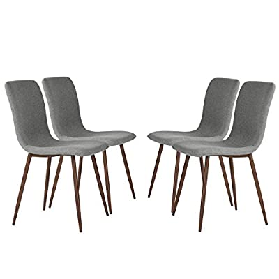 Coavas Set of 4 Kitchen Dining Chairs Fabric Cushion Side Chairs with Sturdy Metal Legs for Home Kitchen Living Room, Grey SCAR-20 - 🔥kitchen dining table chairs🔥---FABRIC CUSHION and BACK: Wearproof and dirty proof thick padding fabric chair seat and chair back. Can return the package without any reason within 30 days. 🔥kitchen dining table chairs🔥---STURDY METAL LEGS: 4 metal legs with wooden tranfer printing, seat bottom fixed with sturdy X-shape support, maximum limit weight is 250lbs. 🔥kitchen dining table chairs🔥---PROTECTING RUBBER RING: at the bottom of legs, we match with the noiseproof and wear resistant rubber ring to protect your floor from scratch. - kitchen-dining-room-furniture, kitchen-dining-room, kitchen-dining-room-chairs - 41MkIDmHTsL. SS400  -