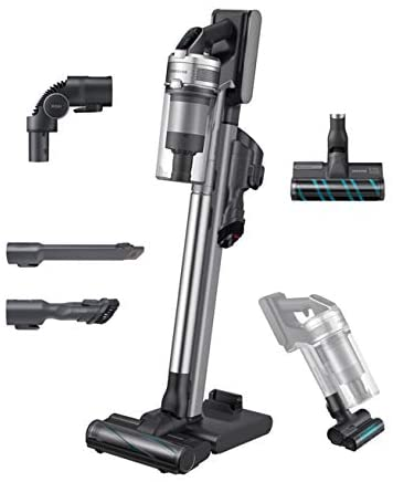 Samsung Jet90Stick Cordless Lightweight Vacuum Cleaner with Removable Long Lasting Battery and 200 Air Watt Suction Power, Complete with Telescopic Pipe, Titan Silver