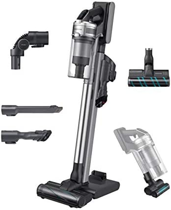 Samsung Jet 90 Stick Cordless Lightweight Vacuum Cleaner with Removable Long Lasting Battery and 200 Air Watt Suction Power, Complete with Telescopic Pipe, Titan Silver