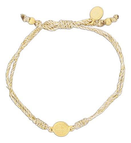 Inspirational Breathe Bracelet, Adjustable (Gold Tone on Metallic Gold) (Jesus Saint Bracelets)