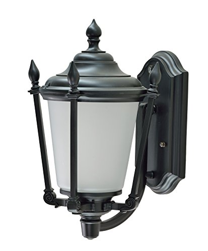 Aspen Creative 60007 1 Light Medium Outdoor Wall Light Fixture with Dusk to Dawn Sensor, Transitional Design in Black, 14 1/4