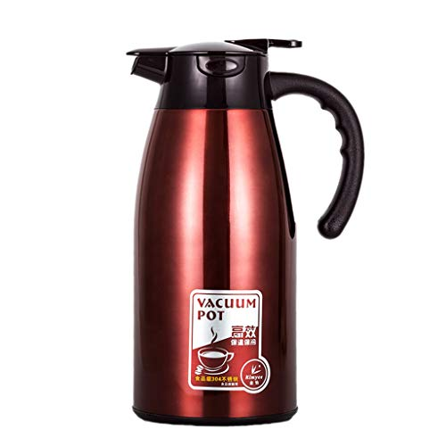 Zcxbhd 2.1 Litre Stainless Steel Coffee Jug/Double Walled Vacuum Tea Carafe / 12-24 Hour Heat Retention/Thermal Insulated Airpot (color : Liqueur red, Size : 2100ml)