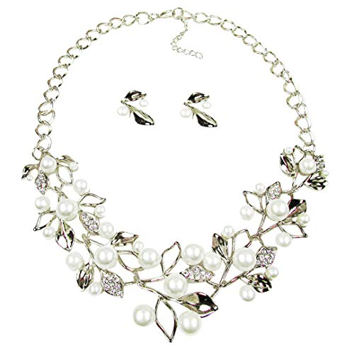 EAN Fashion Pearl Leaf Plated Necklace Choker Beads Chain and Earrings Jewelry Sets for Women ()